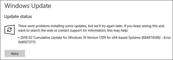 2018-02 cumulative update for windows 10 version 1709 wont install