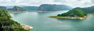 Panoramic view of Idukki arch dam and wildlife sanctuary