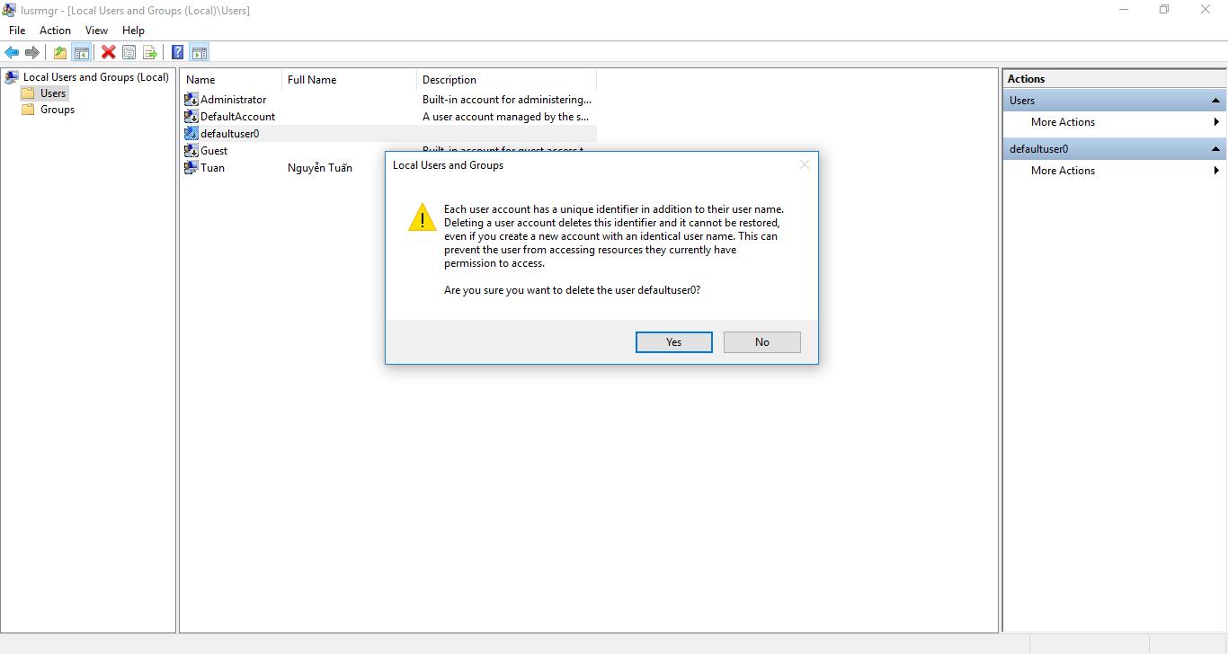 Các bước để xóa vĩnh viễn tài khoản defaultuser0 trên Windows 10