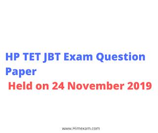 HP TET JBT Exam Question Paper Held on 24 November 2019