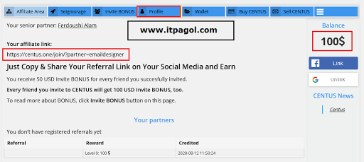 Centus account Dashboard with 100 $ signup bonus