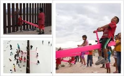 Altalena al confine tra Messico e USA
