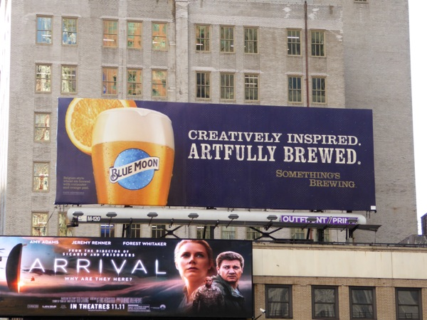 Blue Moon beer billboard NYC