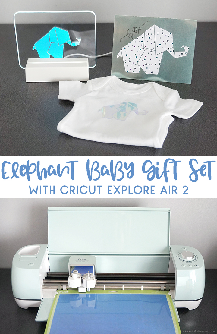 Elephant Baby Gift Set with Cricut Explore Air 2