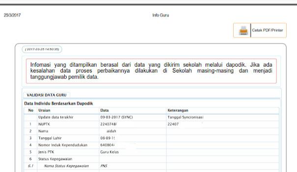 cara cetak atau memprint lembar info GTK