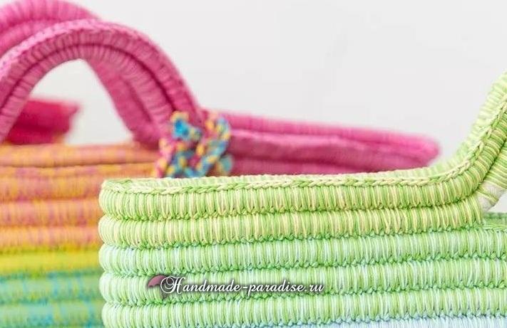 Вязание корзинки из веревки