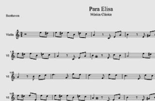 Para Elisa de Beethoven Partitura para Violín Tutoriales de Como Aprender Para Elisa con Violín Partitura de Música Clasica de Fur Elisa del maestro Beethoven