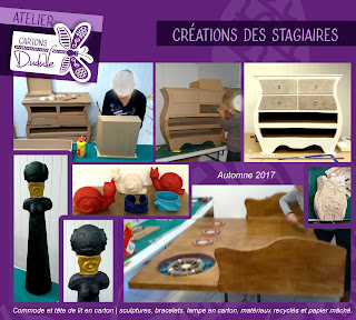 Stages créatifs objets déco et meubles en carton _ Atelier boutique Cartons Dudulle Albi 81000