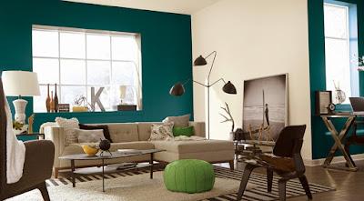 warna cat tembok ruang tamu 2 warna terbaru