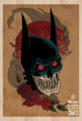"Batman ""Red Rain"" Fine Art Giclee Print by Brian Ewing"