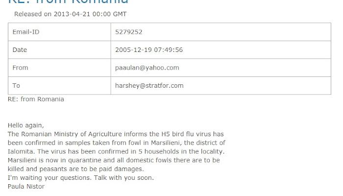 O informatoare a unei agenții private de informații și-a făcut debutul cu gripa aviară din satul Marsilieni - Albești
