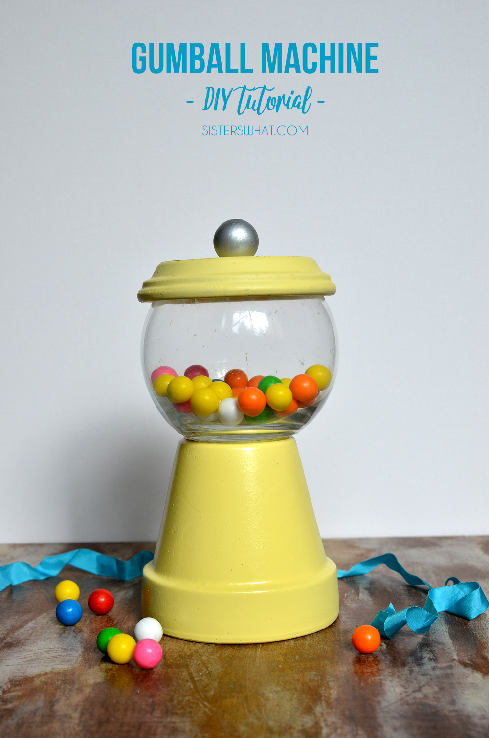 gumball machine party decor or home decor out of pot and glass fish bowl