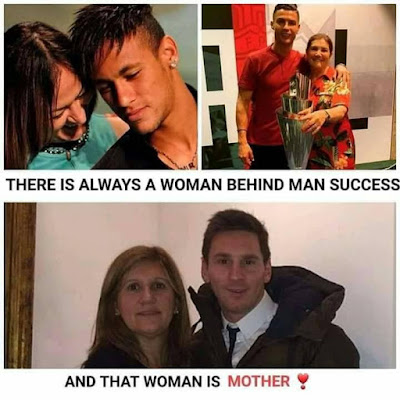 There is always a woman behind Man success......#Ronaldo #Messi #Neymar
