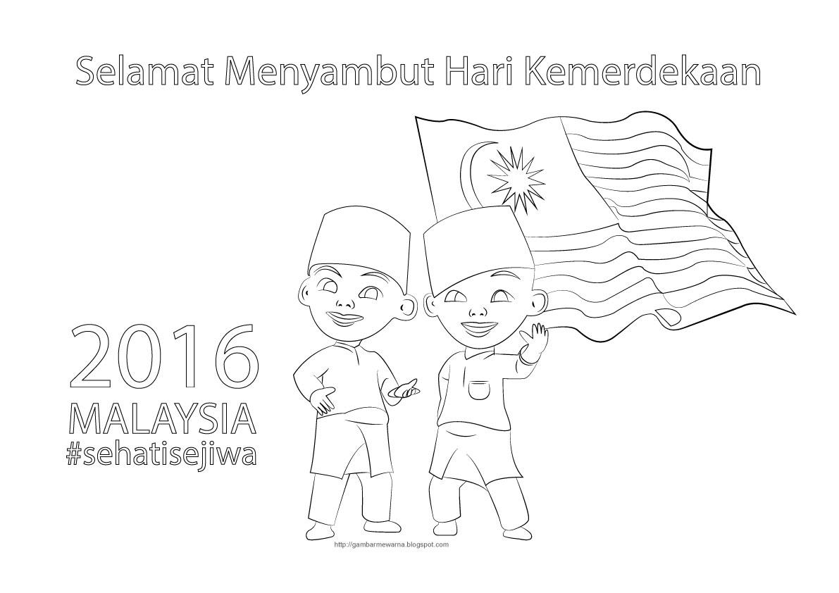 Poster Mewarna Selamat Hari Kemerdekaan 2016 Upin dan Ipin