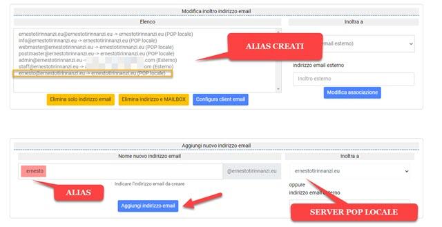 creare alias di posta elettronica in tophost