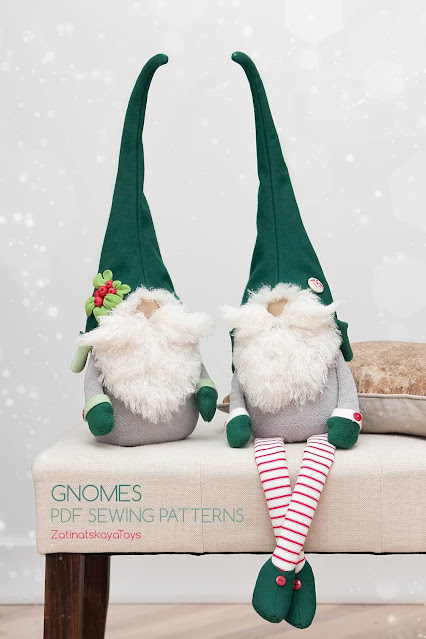 two large Christmas gnomes with hats on a padded stool by sewing patterns of Zatinatskaya Natalia