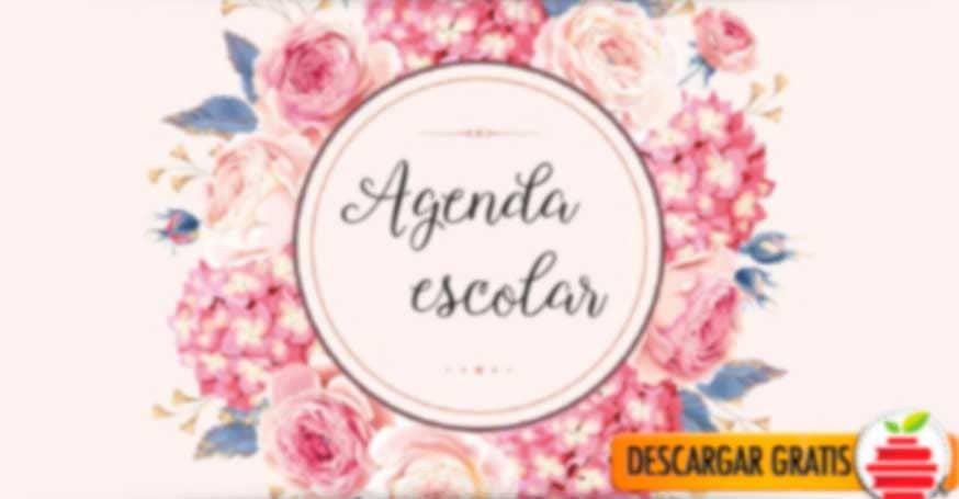 Agenda escolar de flores en formato PDF