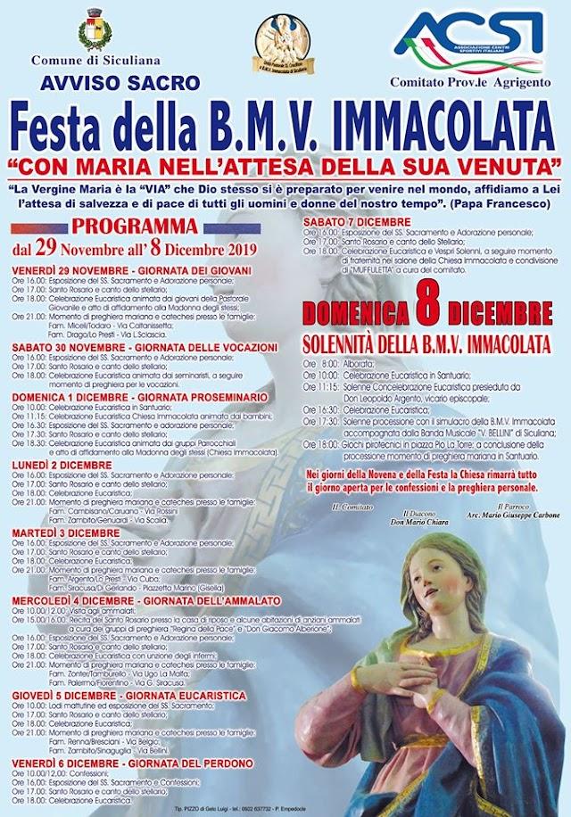 FESTEGGIAMENTI IN ONORE DI MARIA IMMACOLATA 2019