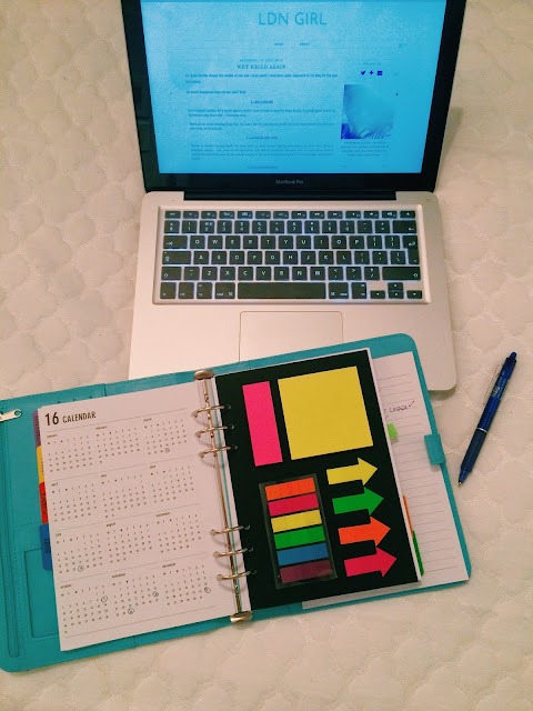 blog site on laptop with diary