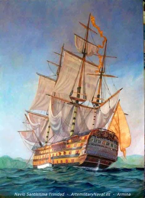 Pintura al óleo del navío Santísima Trinidad visto de popa
