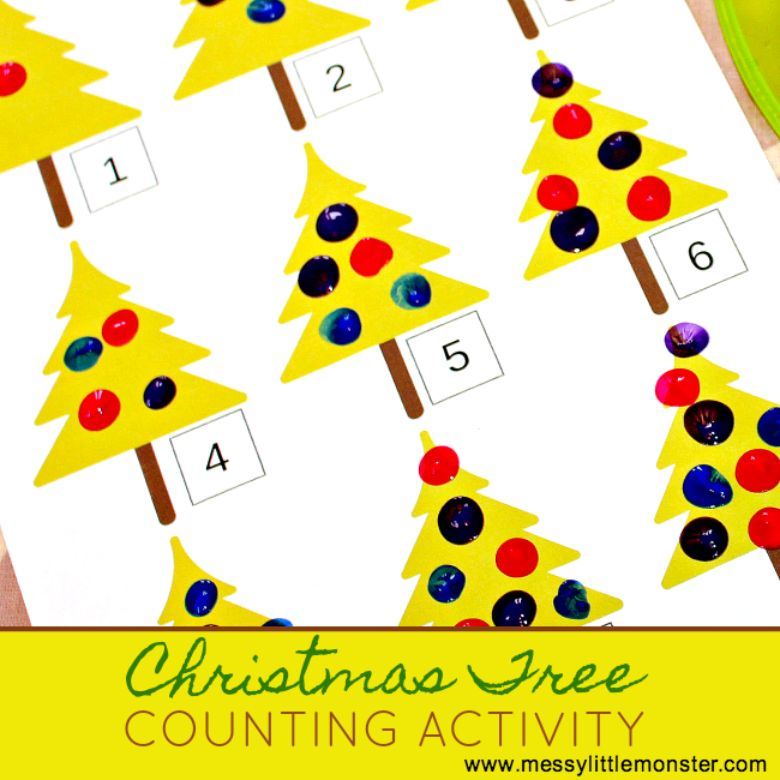 Christmas tree fingerprint counting activity for kids