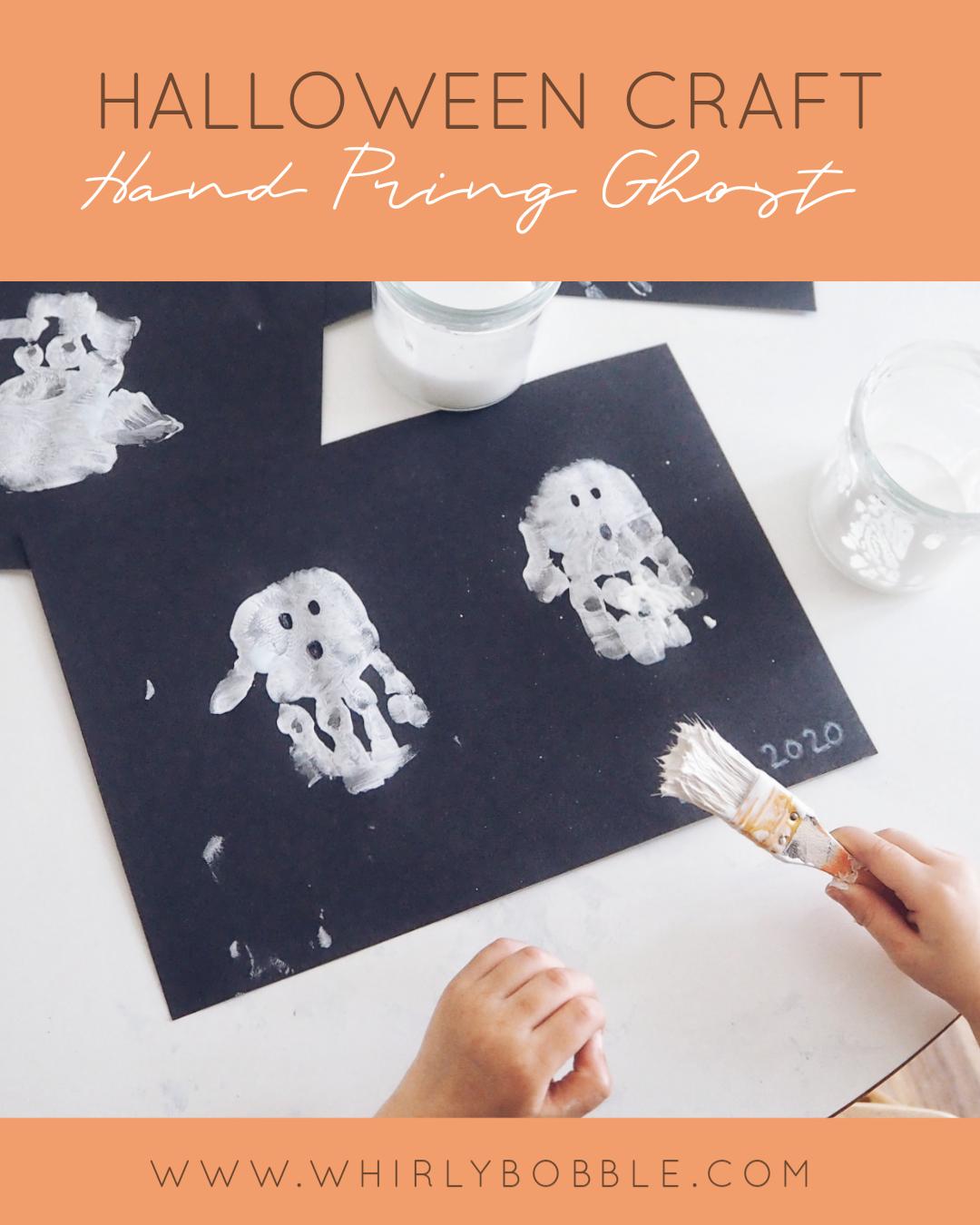 Halloween Toddler Craft - Hand Print Ghost