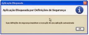 aplicação bloqueada por denifições de segurança