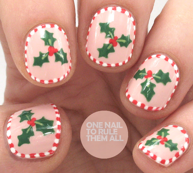 One Nail To Rule Them All Candy Cane Holly Nails