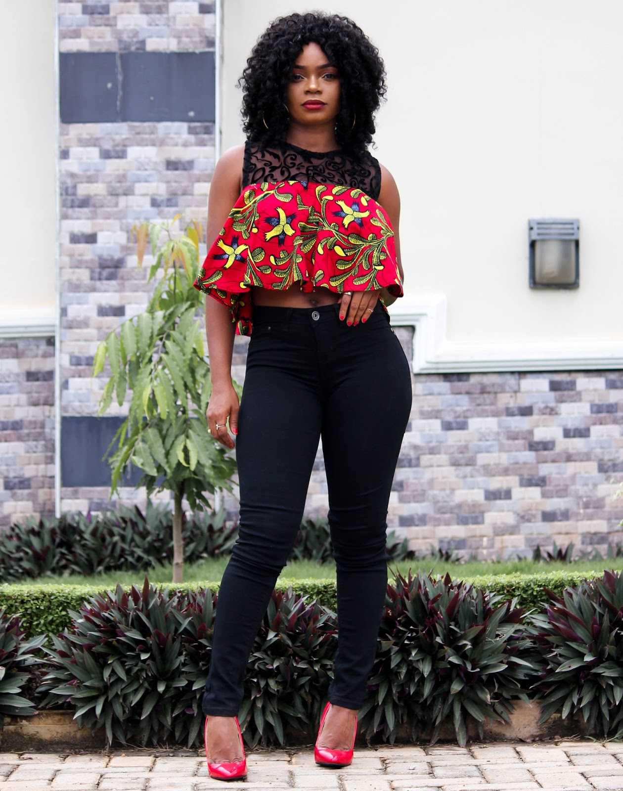 ANKARA FLARED TOP - African Print Flared Top from HouseofNessa with Black Jeans and Red Shoes