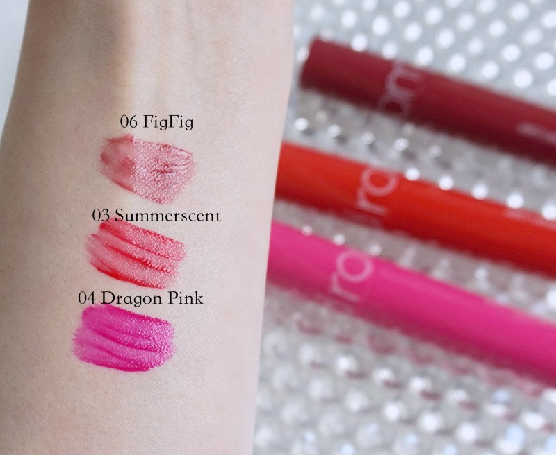 Romand Juicy Lasting Tint swatches - Figfig, Summerscent, Dragon Pink