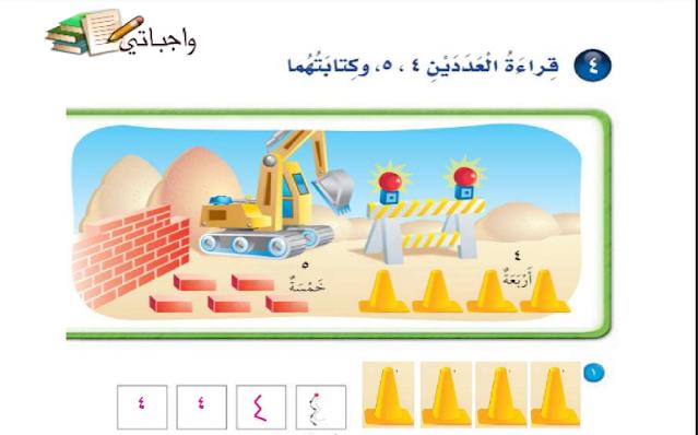 حل درس قراءة العددين 4، 5 ، وكتابتهما الرياضيات للصف الأول ابتدائي