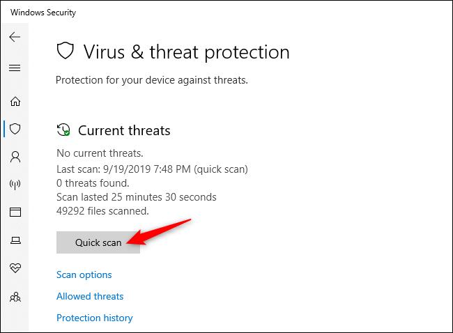 المسح يدويًا بحثًا عن الفيروسات والبرامج الضارة الأخرى في أمان Windows.