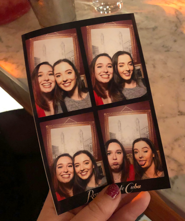 Photobooth photos of two sisters pulling different expressions