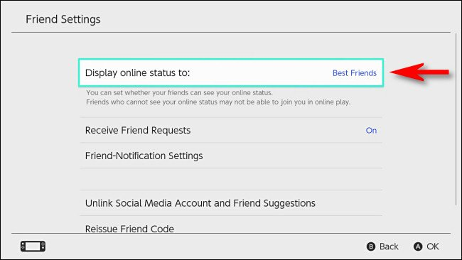 """في تبديل إعدادات المستخدم ، اضبط """"عرض حالة الاتصال عبر الإنترنت على"""" على """"أفضل الأصدقاء""""."""