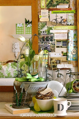 spring, home decor, diy decorating, color, green, repurposing, upcycling, simple decorating, organizing, office, entry, work spaces, inspiring spaces