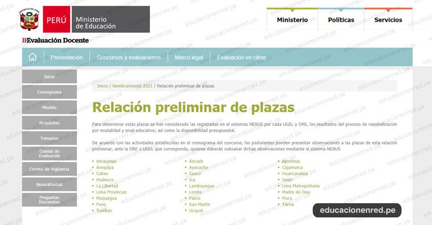MINEDU: Relación Preliminar de Plazas por cada UGEL y DRE para Nombramiento Docente 2021 - www.minedu.gob.pe