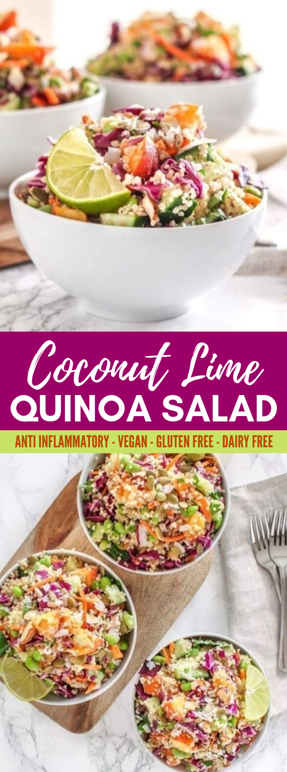 Coconut Lime Quinoa Salad #vegetarian #veggies
