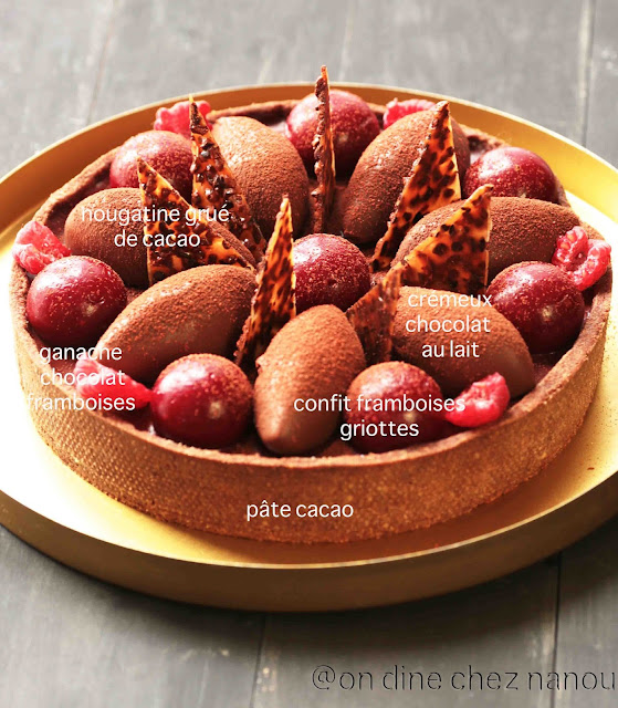 tarte ,chocolat, framboises , dessert de fêtes , ganache , pâtissier