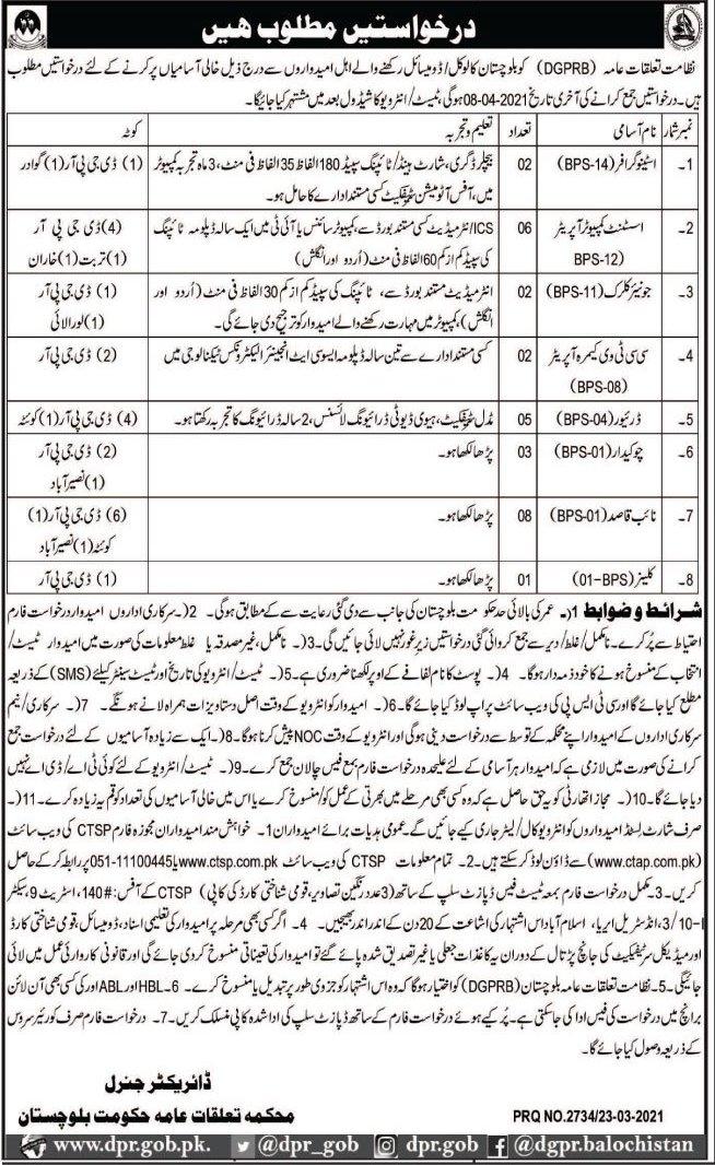Today Latest Jobs in Public Relation Department Quetta Balochistan