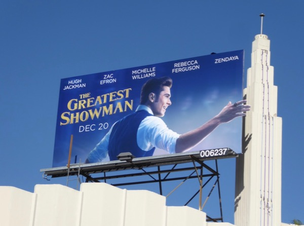 Zac Efron Greatest Showman billboard