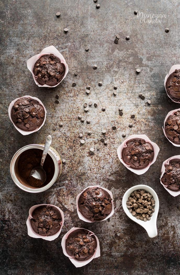 Auténticos muffins de chocolate superchocolateados. Receta con y sinThermomix