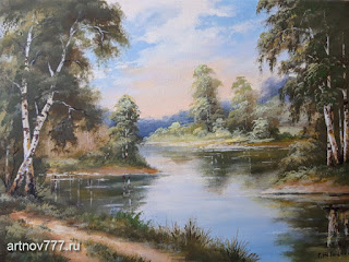 Картина 30х40см. Тропинка у лесного озера
