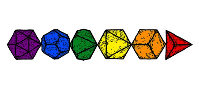 Rainbow colored D&D dice drawn by Dyson Logos