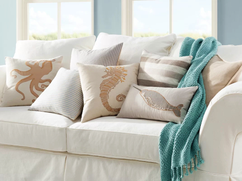 Neutral Off White Beige Coastal Pillow Sets