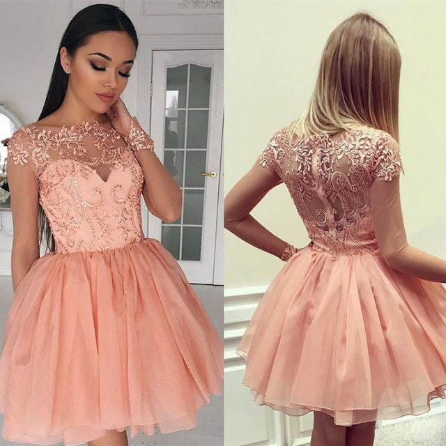 Bateau A-Line Appliques Homecoming Dresses Short Glamorous Long Sleeves Ruffles Cocktail Dresses