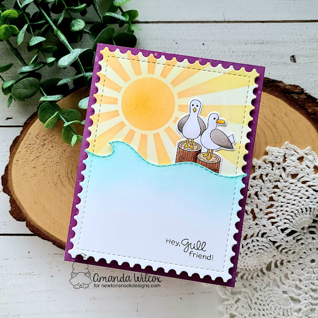 Hey Gull Friend Card by Amanda Wilcox | Gull Friends Stamp Set, Sunscape Stencil and Sea Borders Die Set by Newton's Nook Designs #newtonsnook