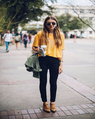 outfit de otoño amarillo tumblr juvenil