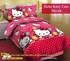 Sprei Custom Katun Lokal Anak Hello Kitty Cute Merah Kartun Karakter Pink