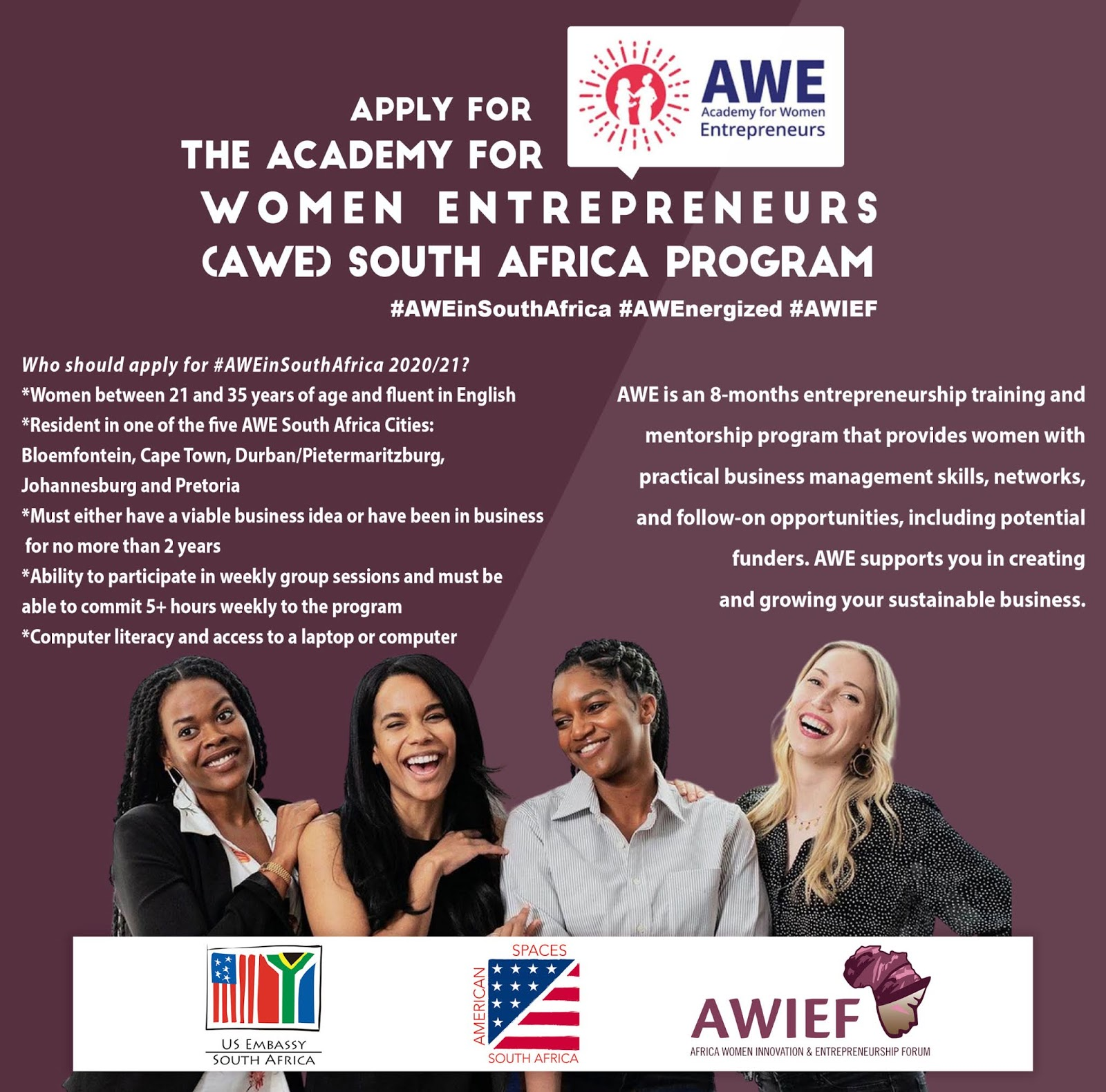 US Embassy/AWIEF Academy for Women Entrepreneurs (AWE) South Africa Program 2020