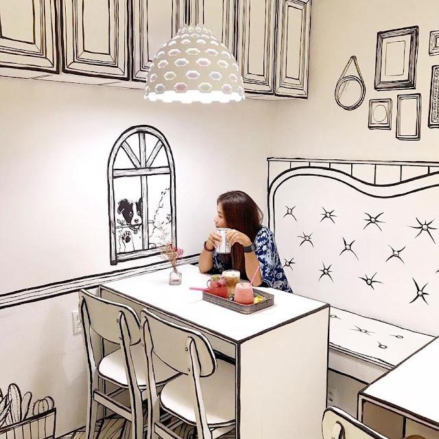 inusual-café-en-Seúl-fachada-de-cómic